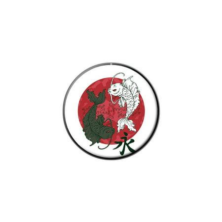 Yin and Yang Red Moon - Japanese Asian Koi Carp Fish Lapel Hat Pin Tie Tack Small Round