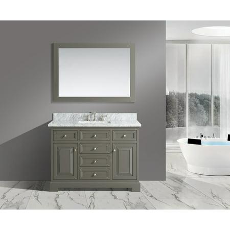 Rochelle 48 Inch 48 Bathroom Sink Vanity Set With White Italian Carrara