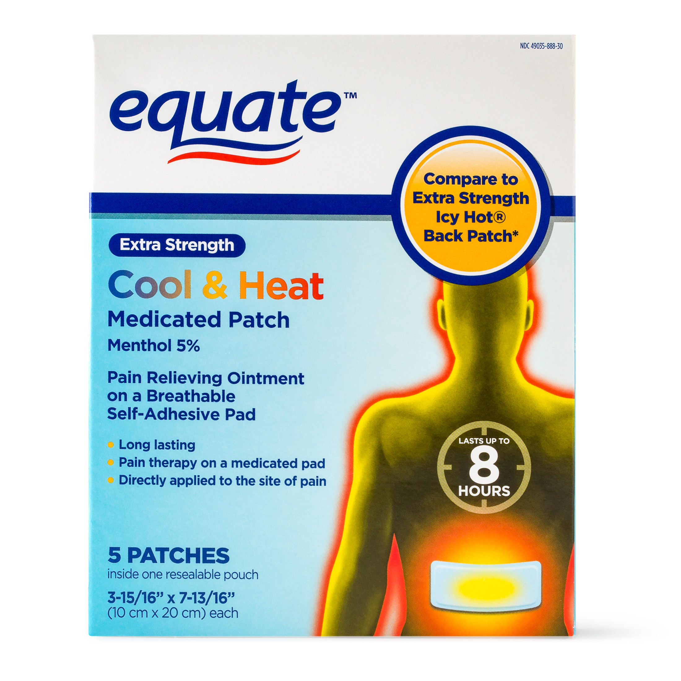Equate Extra Strength Cool & Heat Medicated Patch, 5 Ct