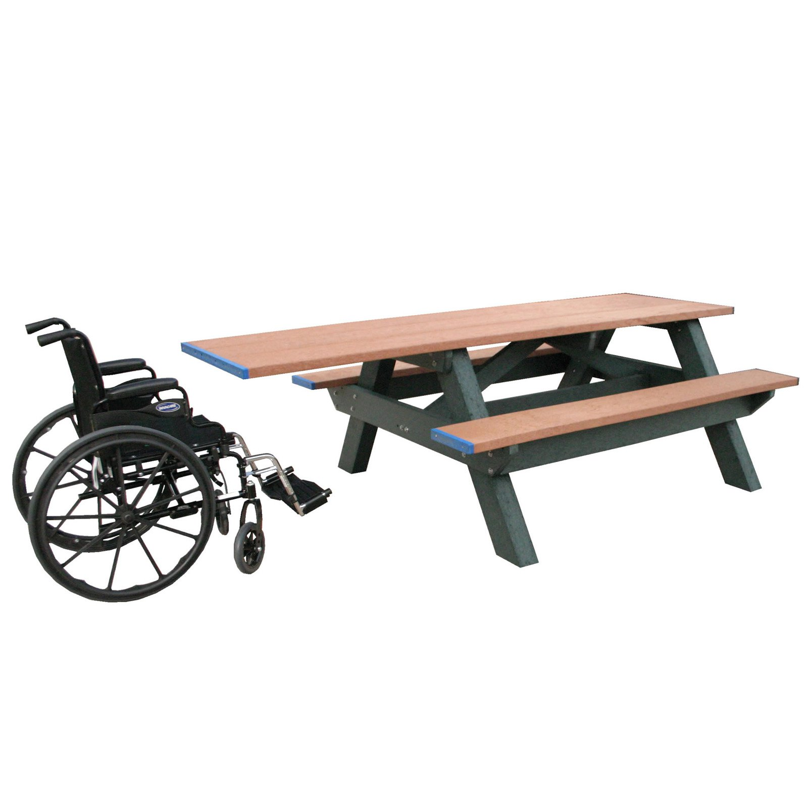 Polly Products Standard Recycled Plastic Picnic Table - Single ADA Entry