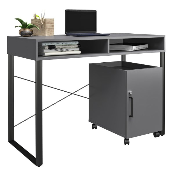 "Brenton Studio Bexler 42""W Desk With Mobile Cart"