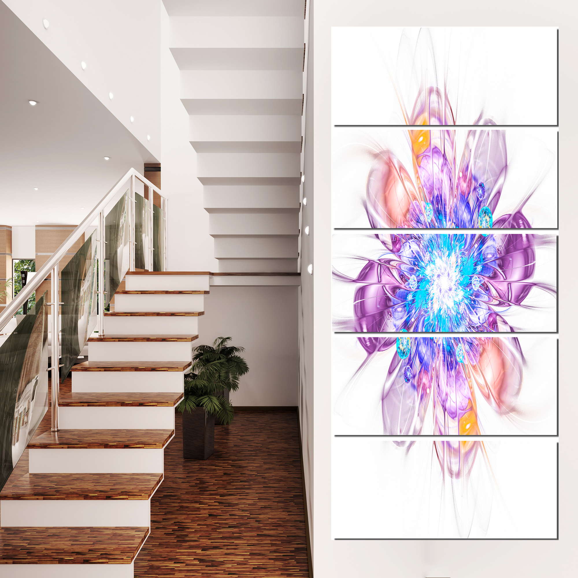 Perfect Fractal Flower in Multi Colors - Floral Canvas Art Print - image 3 de 3