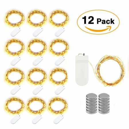 Life Glow 12pcs LED Starry String Lights with 20 Mini LEDs on 6.6FT/2M Copper Wire, Fairy Lights Powered by 2xCR2032(Incl) Batteries for Wedding Holiday Halloween Christmas Decorations (Warm White) - Battery Halloween Lights