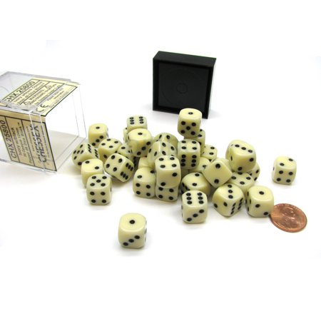 Opaque 12mm D6 Chessex Dice Block (36 Die) - Ivory with Black Pips 36 Opaque 12mm Dice Block
