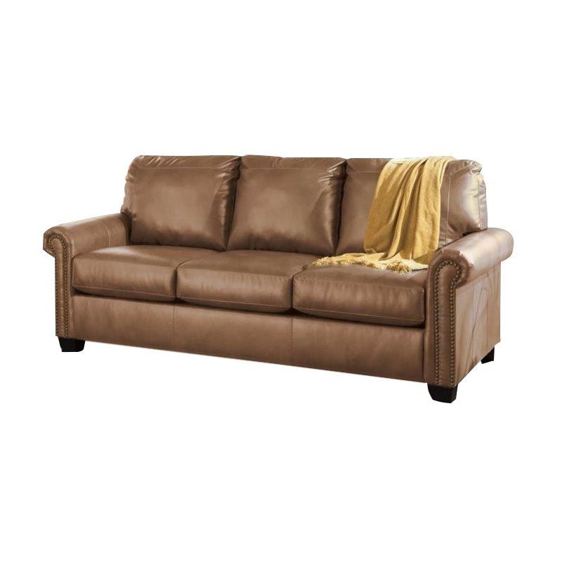 Ashley Lottie Leather Queen Sleeper Sofa in Slate Walmart