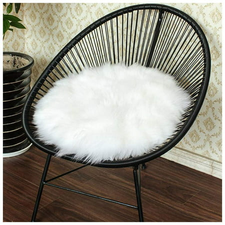 Moaere12 inch High Pile White Round Faux Sheepskin Fur Area Rug Ultra Soft Thick Fluffy Round Pad Carpet Hairy Mat Chair Cover Seat Cushion Pad for Bedroom Living Room Fluffy Floor