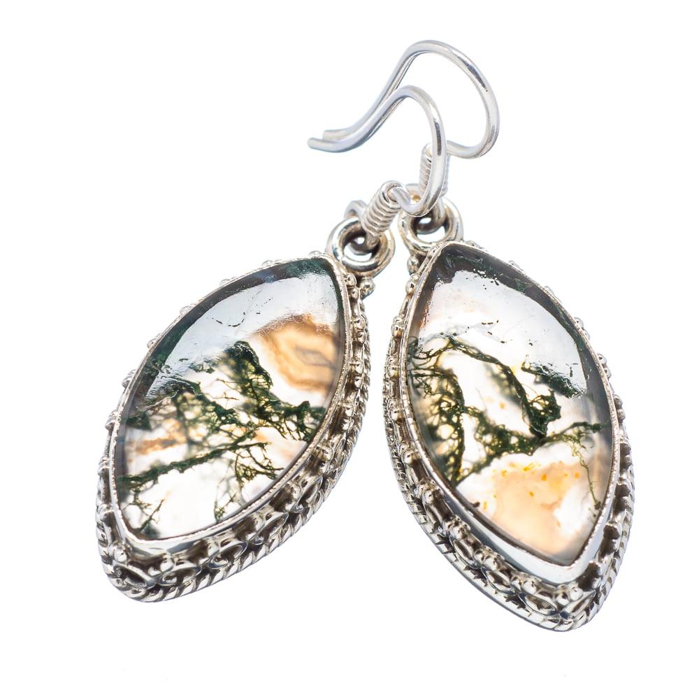 """Ana Silver Co Green Moss Agate 925 Sterling Silver Earrings 1 3/4"""" EARR318725"""