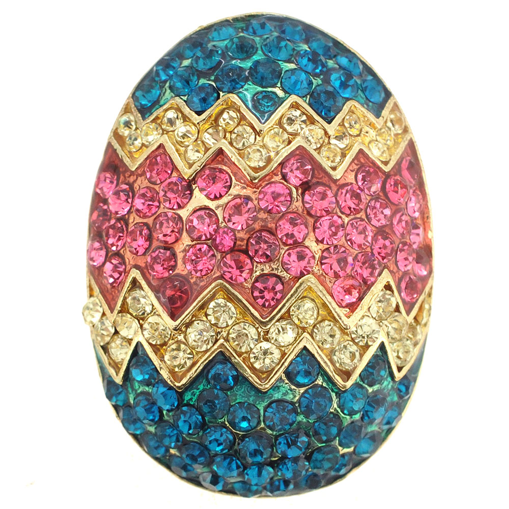 Pink Easter Egg Crystal Pin Brooch by