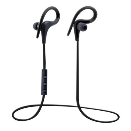 Sweatproof Bluetooth 4.1 Ear Hook Headset Noise Cancelling Stereo Sports Headphones Earphone with Mic, Perfect for Running Workout and Gym - Black