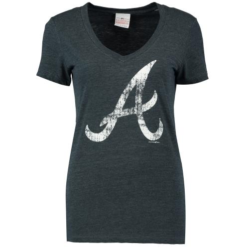 Atlanta Braves 5th & Ocean by New Era Women's Tri-Blend Basic Logo V-Neck T-Shirt - Navy