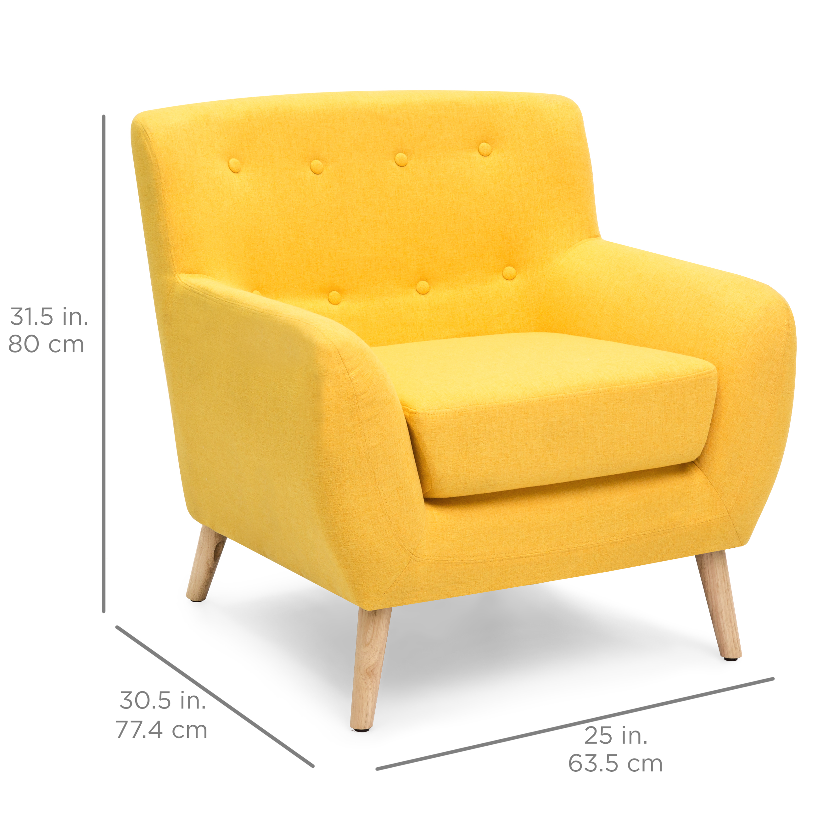 Image of: Best Choice Products Mid Century Modern Linen Upholstered Button Tufted Accent Chair Yellow Walmart Com Walmart Com