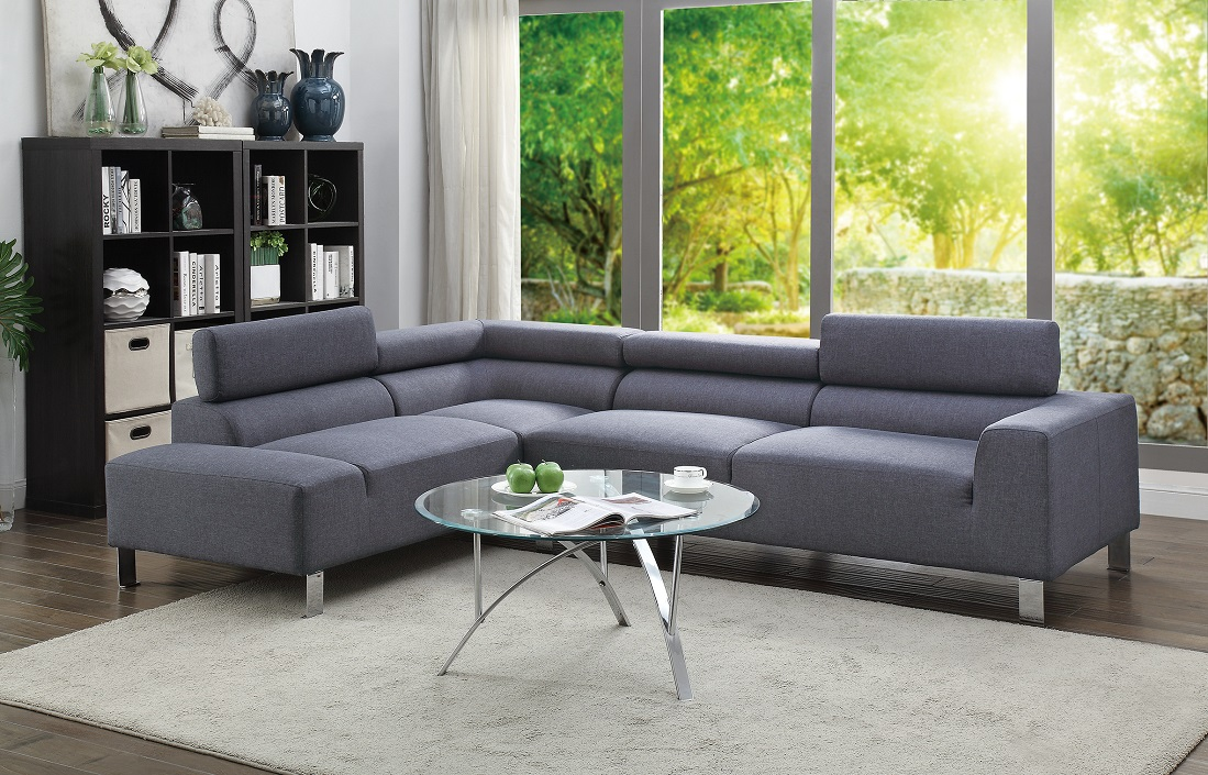 Electric Smooth Texture Modern 2 Piece Sectional Sofa Blue Grey Linen Like  Fabric Metal Legs Adjustable Headrest Sofa Chaise
