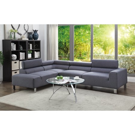 Electric Smooth Texture Modern 2-Piece Sectional Sofa Blue grey ...