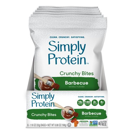 Simply Protein Crunchy Bites, Barbecue, 15g Protein, 6 -