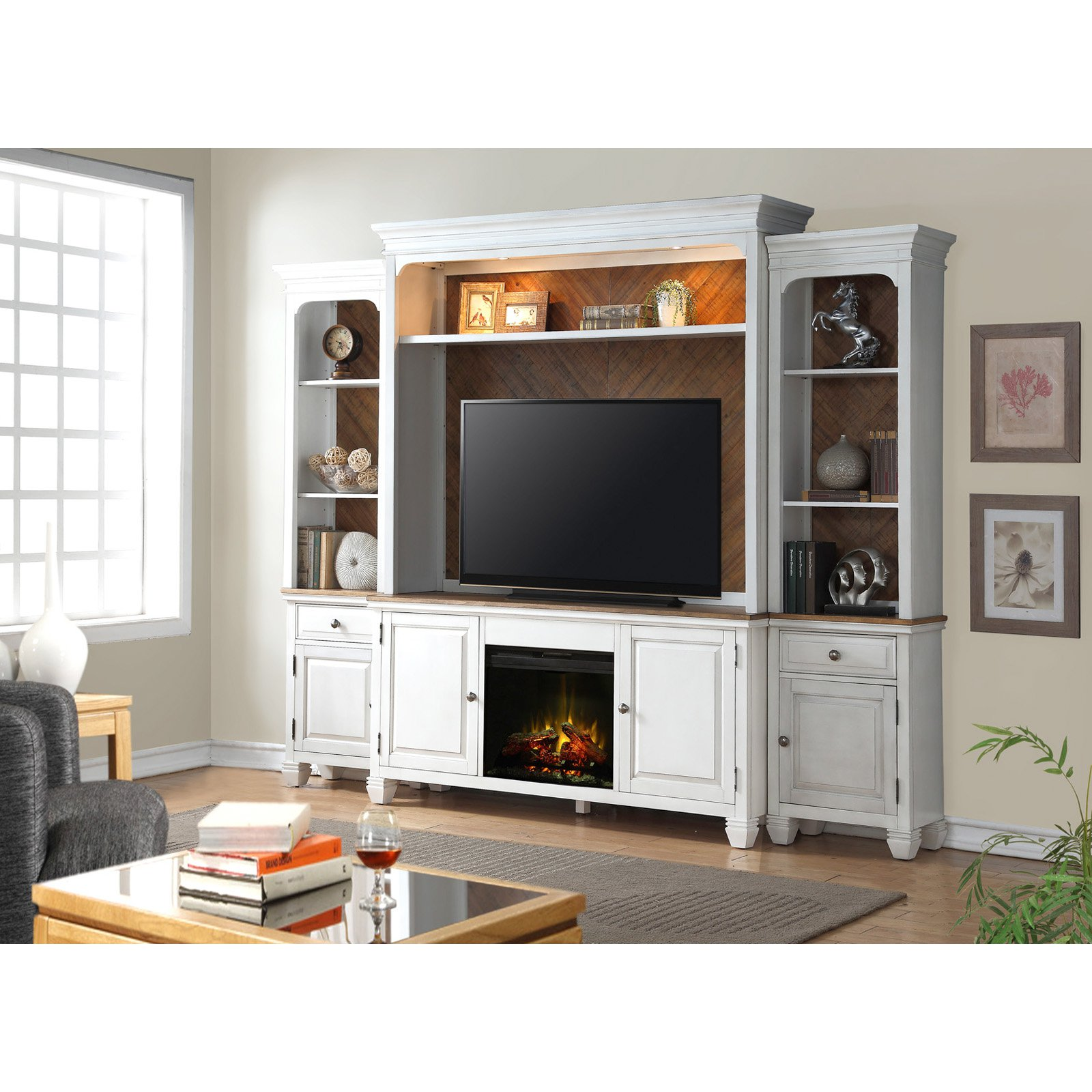 Legends Furniture Camden 68 in. Fireplace TV Console with Optional Wall Hutch and Piers