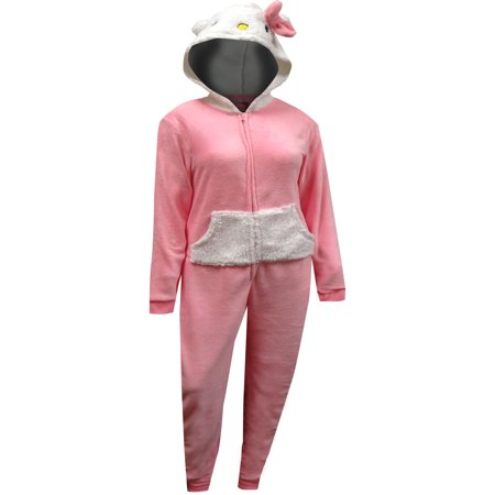 Hello Kitty Pink One Piece Hooded - Hello Kitty Clothes For Adults