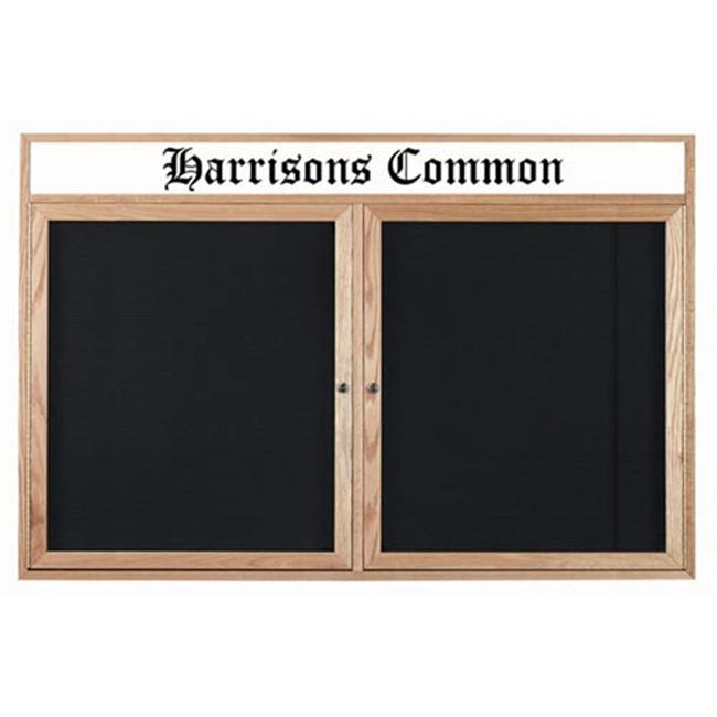 Aarco Products ODC4872H 2-Door Enclosed Changeable Letter Board with Header - Oak