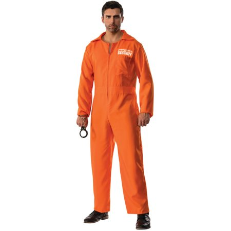 Orange Convict Costume (Mens Maximum Security Escaped Prison Convict Uniform)
