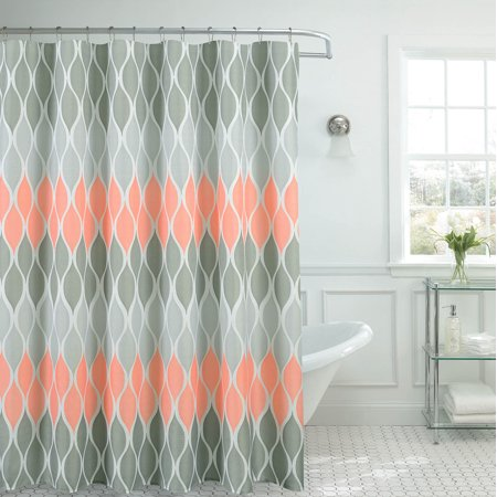 Clarisse Faux Linen Textured Shower Curtain With 12 Metal Rings