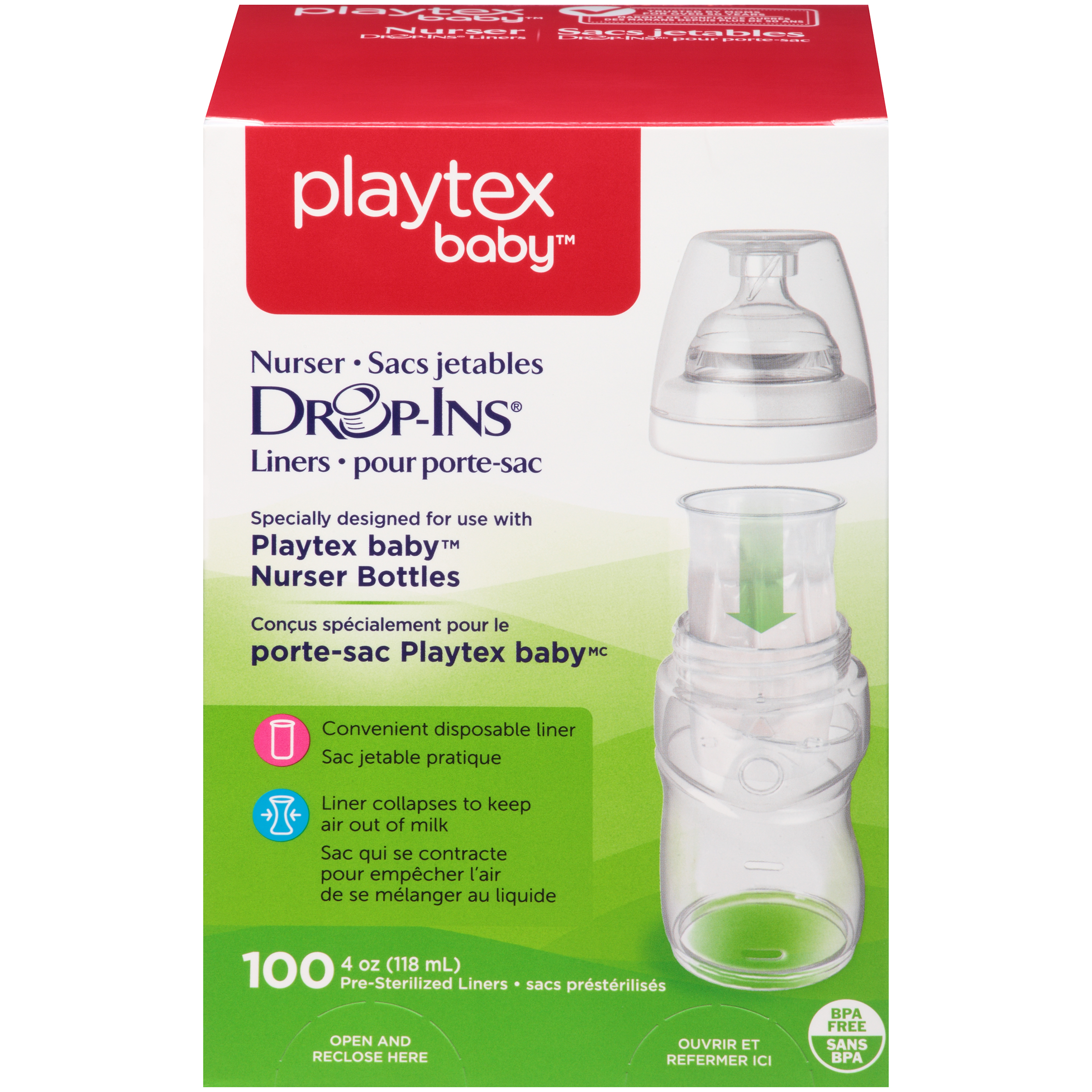 Playtex Baby Drop-Ins Liners For Playtex Baby Nurser Bottles 4-6oz 100 count