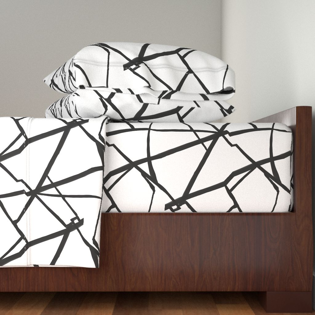 Ink Lines Painted Lines Linear Black 100% Cotton Sateen Sheet Set by Roostery