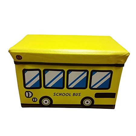 Ottomon storage bench/seat, Folding Storage Cube With Cover Yellow School Bus design kids playroom ideas (YELLOW) (Kids Store Design)
