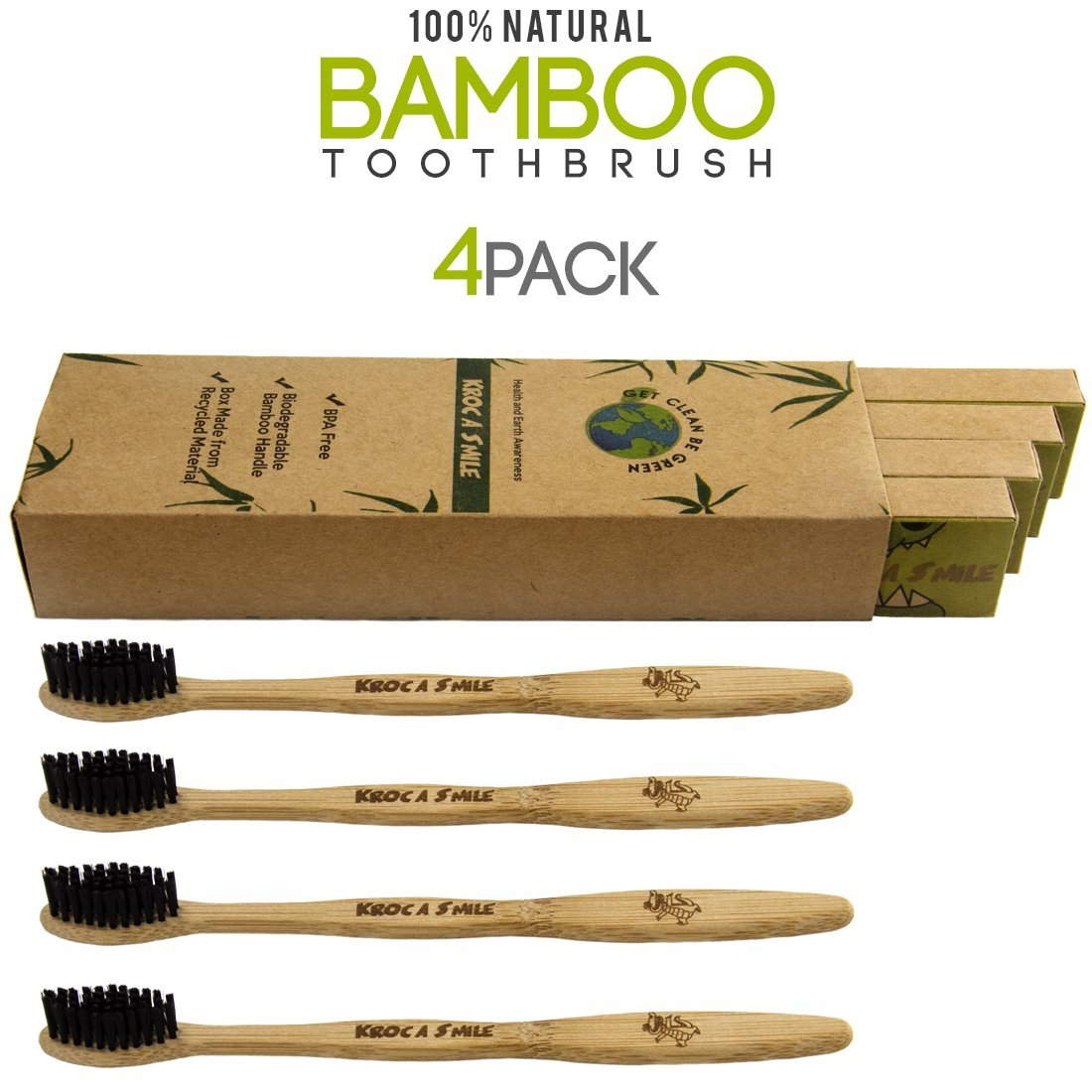 Eco-friendly Natural Bamboo Toothbrush 100% Organic and Biodegradable, Medium Bristle BPA Free Charcoal Infused Bristles for Kids and Adults- 4 pack Black