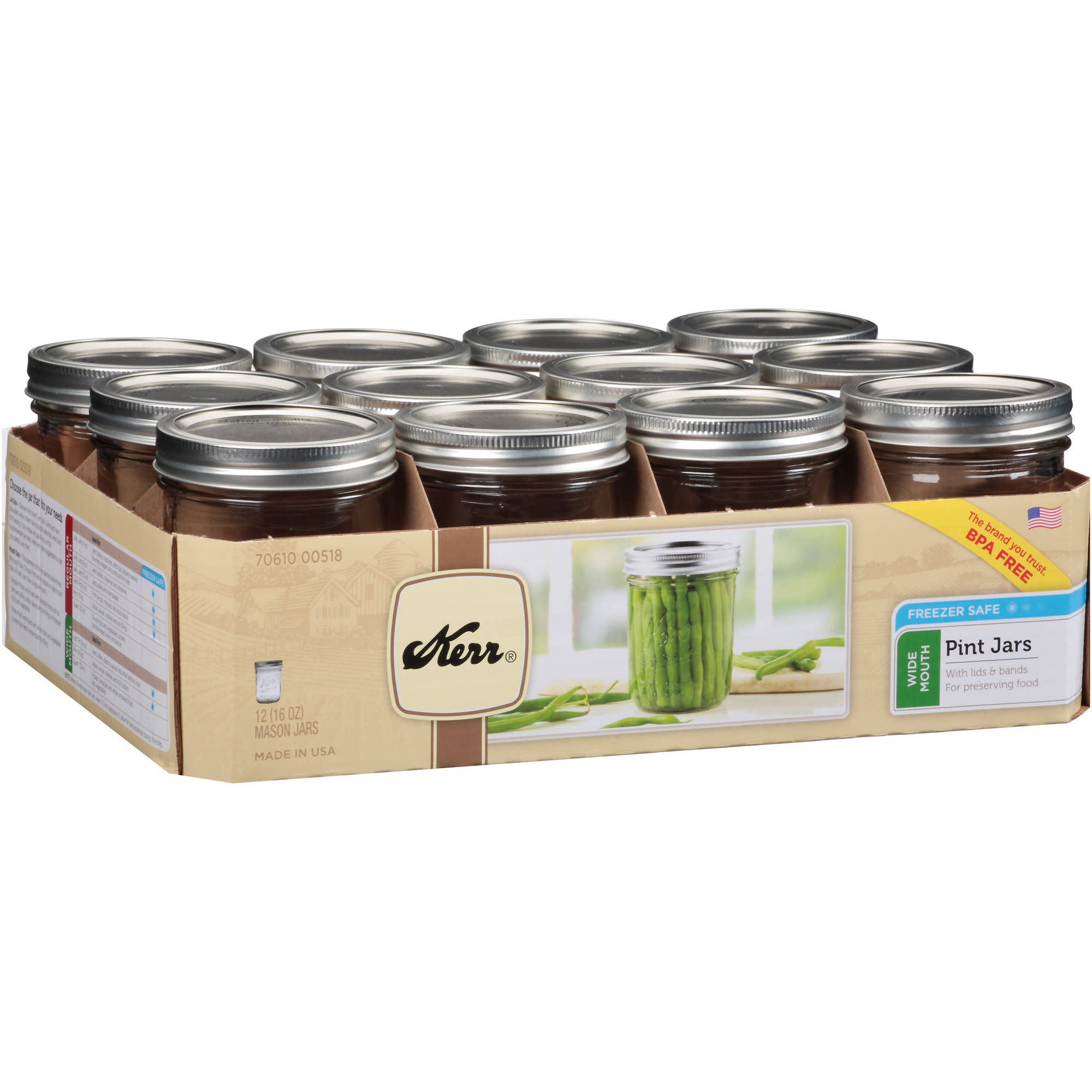 Loew-Cornell Kerr Wide-Mouth Mason Jar, 12-Pack