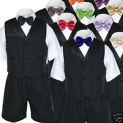 4T 5pc Baby Toddler Boys Yellow Vest Bow Tie Shorts Sets White Suits S-4T