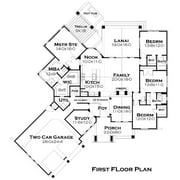 TheHouseDesigners-5252 Construction-Ready European Cottage House Plan with Slab Foundation (5 Printed Sets)