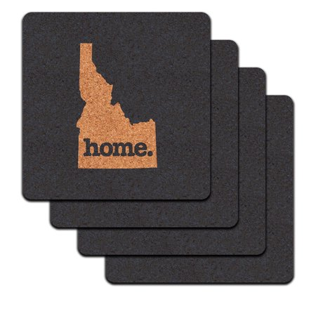 Idaho ID Home State Low Profile Cork Coaster Set - Solid Navy Blue