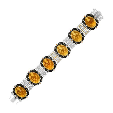 18K Yellow Gold & Sterling Silver Bracelet with Citrine, Quartz, and Diamonds - 7.5
