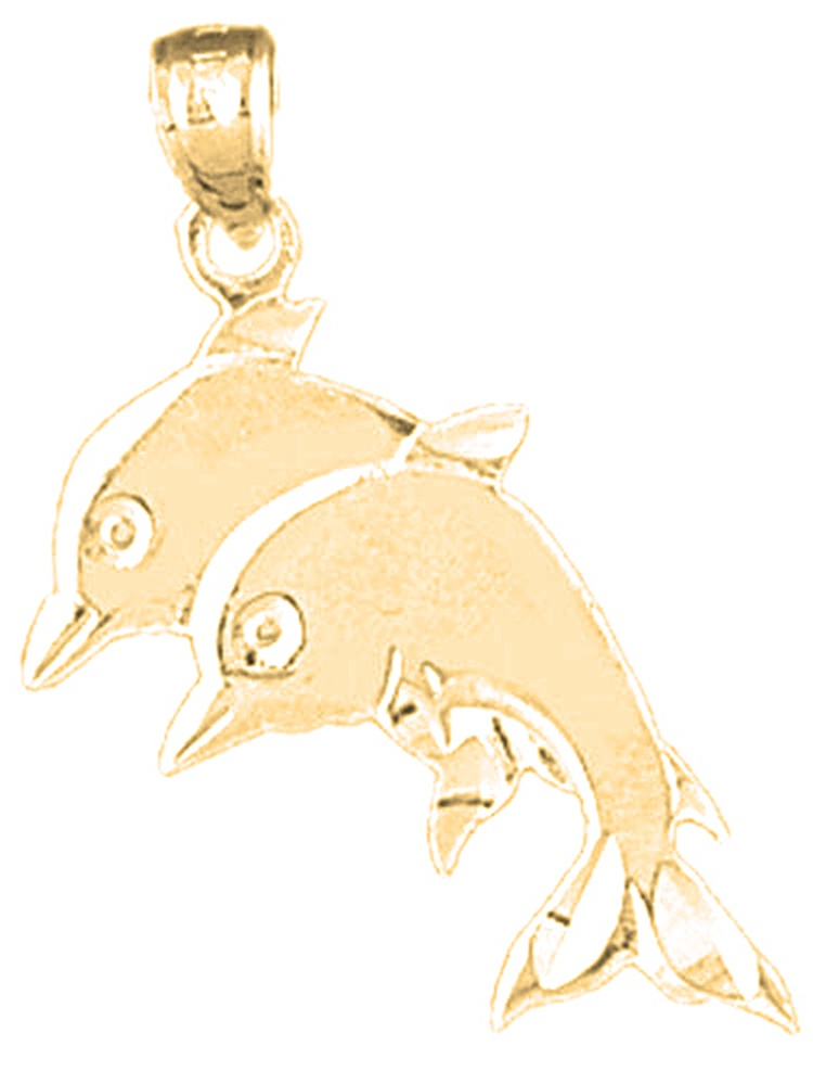 14K Yellow Gold-plated 925 Silver Dolphin Pendant Jewels Obsession Silver Dolphin Pendant