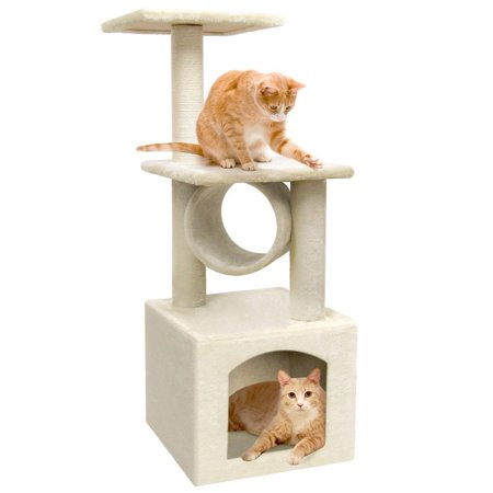 Cat Tree Climbing Tower Condo House | Cat Activity Tree with Sisal Scratching Posts for Kitten Activity Centre Playhouse, Pet Furniture Cat Tower (Kitten Tree)
