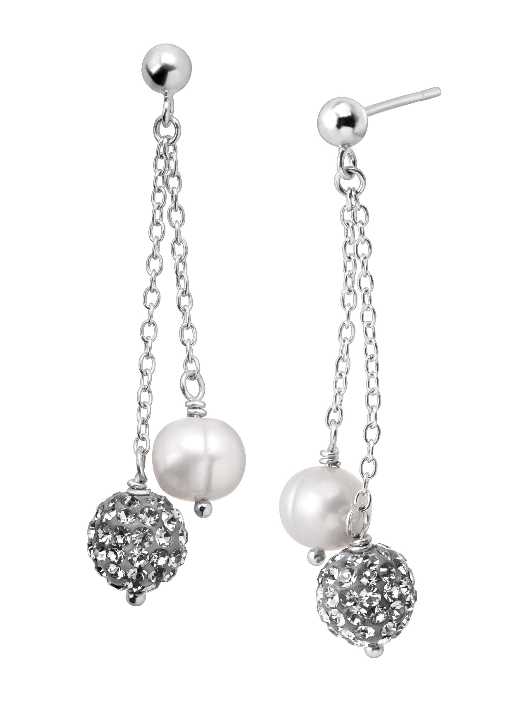 Honora 6-7 mm Grey Freshwater Pearl Drop Earrings with Crystals in Sterling Silver