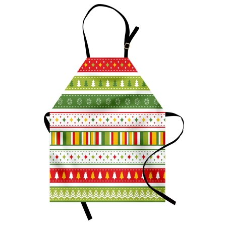Christmas Apron Set of Traditional Seasonal Borders Stars Bells Trees Stripes Print, Unisex Kitchen Bib Apron with Adjustable Neck for Cooking Baking Gardening, Lime Green Yellow Red, by Ambesonne