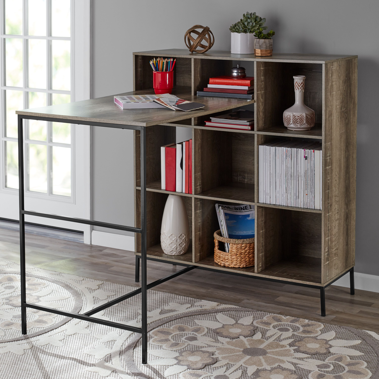 Mainstays 9 Cube Standing Storage Desk Rustic Brown