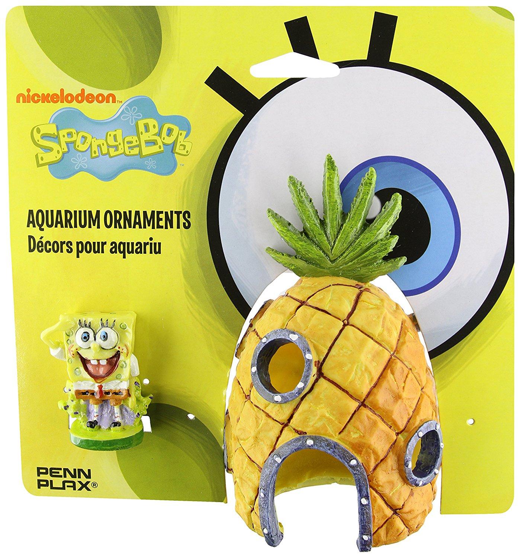 SpongeBob and Pineapple House Aquarium Ornament, 2-Pack, SpongeBob SquarePants and crew are everyone's favorite underwater characters By Penn Plax