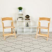Flash Furniture 2 Pk. HERCULES Series Natural Wood Folding Chair with Vinyl Padded Seat