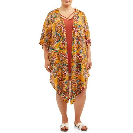 Terra & Sky Women's Plus Size Printed Kimono 2Fer