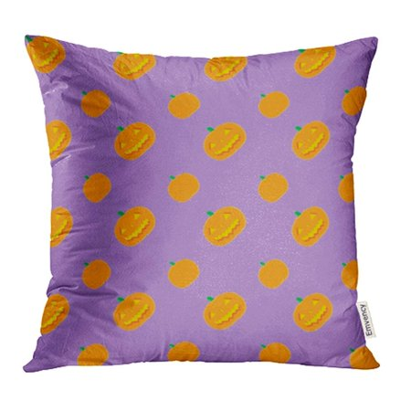 ARHOME Orange Dots Halloween Jack O' Lantern Pattern Light Purple Fully Fun Holidays Pillow Case Pillow Cover 16x16 inch Throw Pillow Covers](Halloween Jack O Lanterns Pattern)