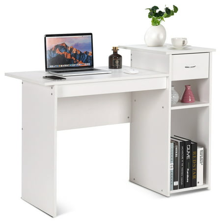 1 Drawer Computer Table (Costway Computer Desk PC Laptop Table w/ Drawer and Shelf Home Office Furniture)