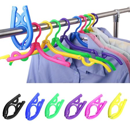 Folding Travel Hangers-3 Section Design, Non-Slip Collapsing Clothing Hangers, Space Saving and Lightweight for Easy Carrying and Storing, 12Pcs (Colorful) These hangers are foldable and portable. You could easily to fold it up into a very compact shape and pack it to your bag but would not take of a lot of room. It is 9in long when unfolded once, and 16.5in long when totally unfolded. You can use it for babay's clothes for first unfolding, and for adults clothes after completely being unfolded. The Non-slip design will keep your clothes stay in the place, wont be fall down and stretch out.Specification:Material:  ABS plastic and Aluminum alloy rivetsColor: Black, Yellow, Blue, Green, Pink, PurpleDimensions: Folding size: Length 5 x Height 3 ; Full size, Length 16.5 x Height 7Each hanger weighs 35 grams thus very convenient to carry around either for travelling, hiking, camping or even for home-use.Package include : 12pcs with 6 colors, 2pcs for each color.