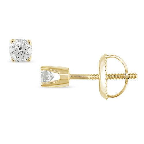 Amour Round Cut Diamond Stud Earrings