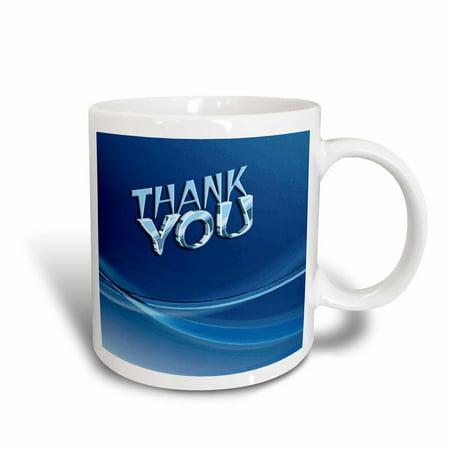 3dRose Thank you Blue, Ceramic Mug, (Indigo Blue Ceramic Mug)