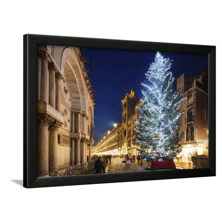 Christmas Tree in St. Marks Square, San Marco, Venice, UNESCO World Heritage Site, Veneto, Italy Framed Print Wall Art By Christian