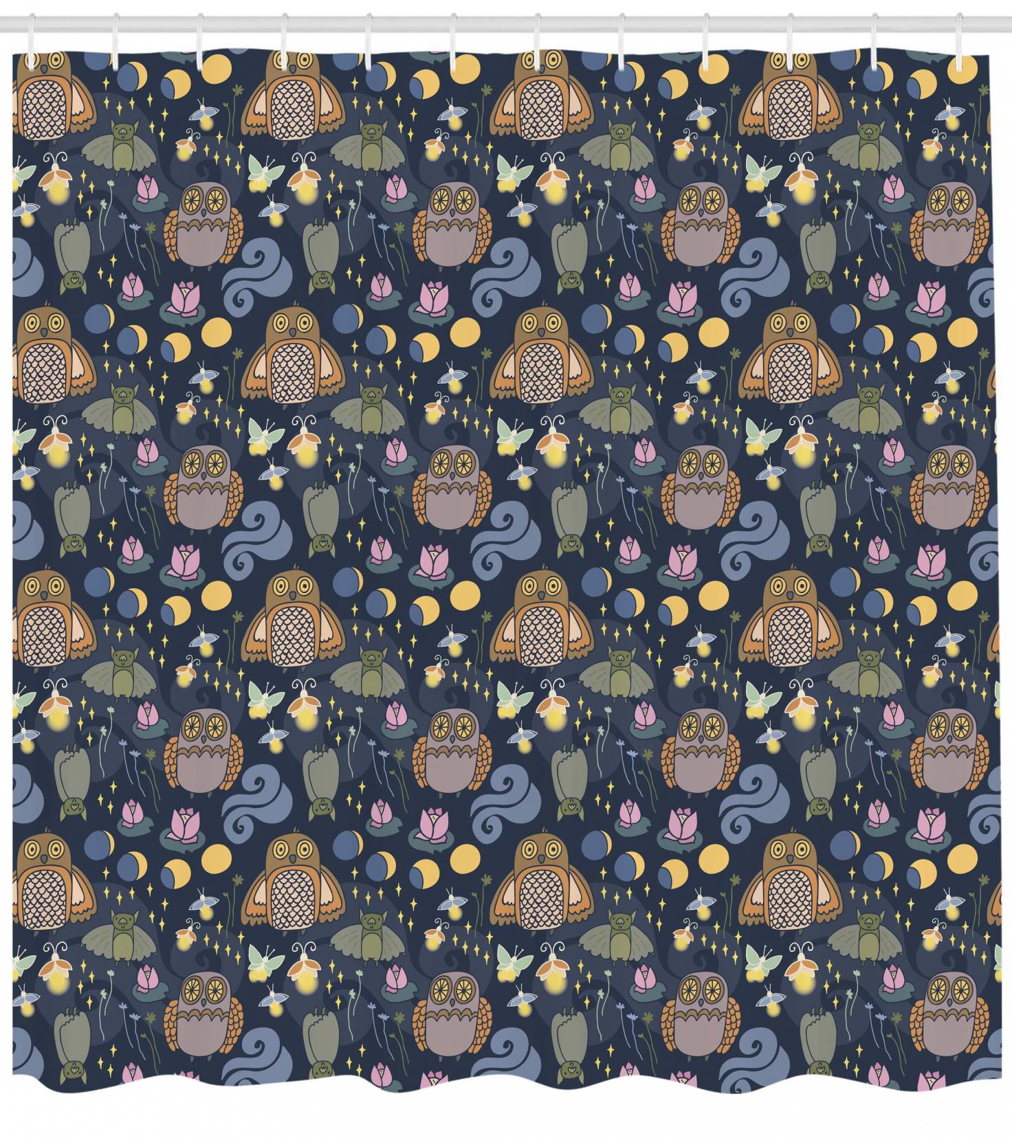 Woodland Shower Curtain Scary Owl Firefly Bats Moths Moon