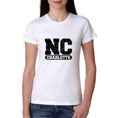 Charlotte, North Carolina NC Classic City State Sign Women's Cotton T-Shirt - Party City North Carolina