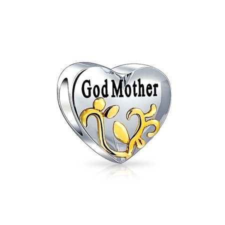 (Double Sided Heart Shaped Gold Plated Foliage Godmother Message Bead Charm .925 Sterling Silver)