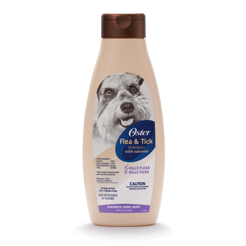 Oster flea & tick shampoo with oatmeal mandarin violet scent, 18-oz bottle